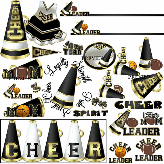 Black Cheer clip art, MORE COLORS, black gold, cheerleader.