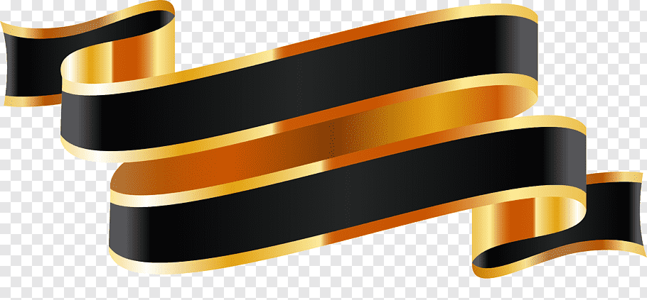 Black and gold ribbon logo, Ribbon Web banner, Ribbon banner.