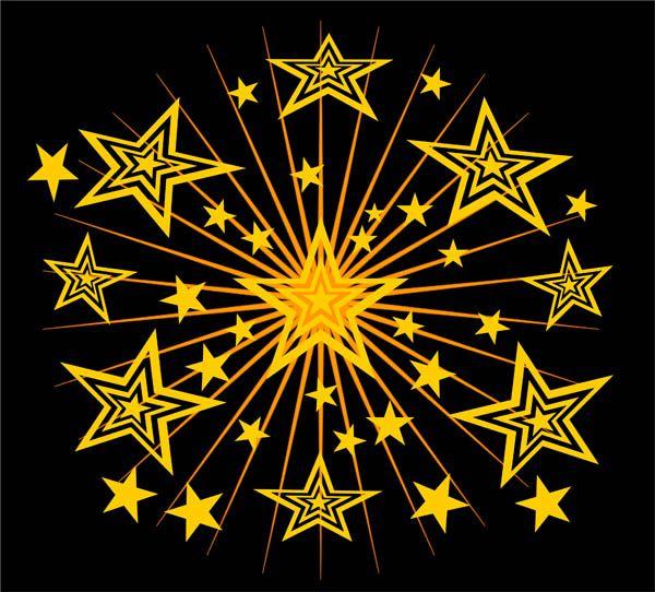 Gold stars on a black design free clip art.