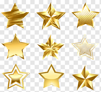 Gold Star cutout PNG & clipart images.