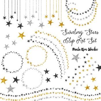 Gold, Silver and Black Glitter Swirling Stars Clip Art Set.