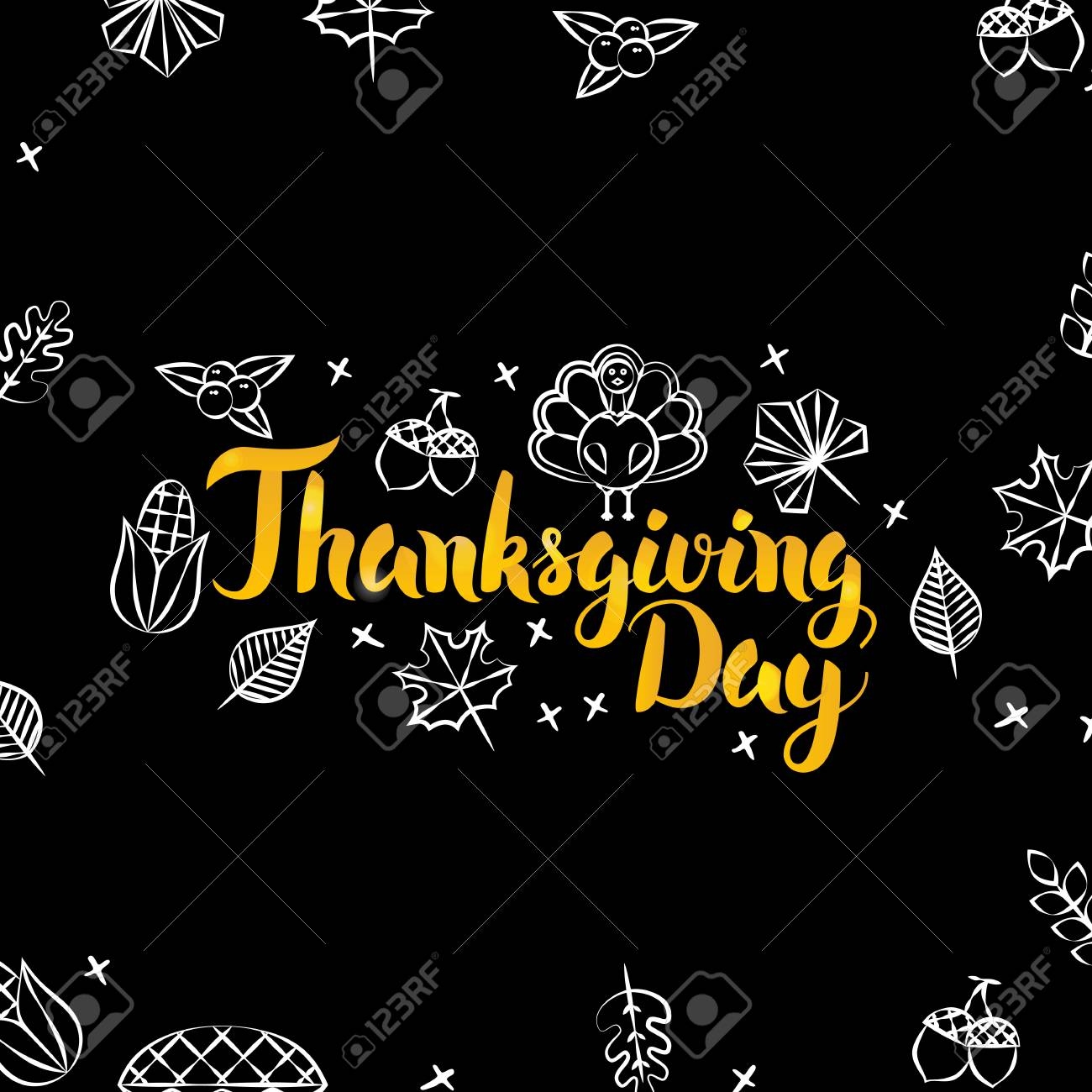 Thanksgiving Day Black Gold Postcard. Vector Illustration of...