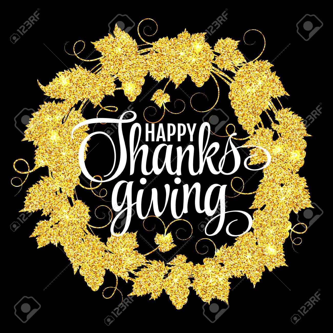 Happy Thanksgiving Day, give thanks, autumn gold glitter design.
