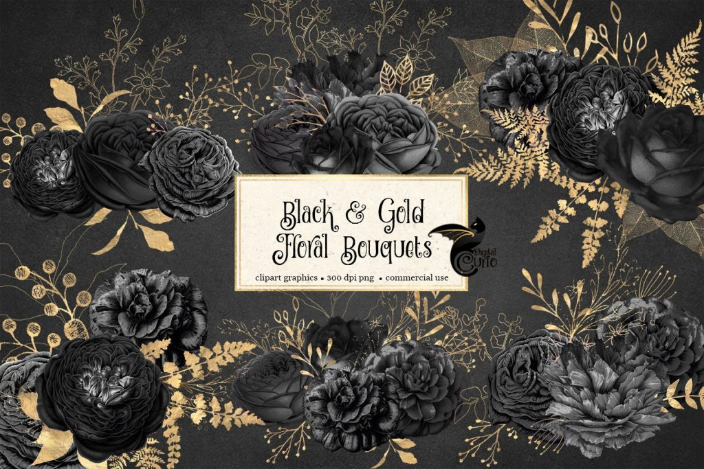 Black and Gold Floral Bouquets Clipart.
