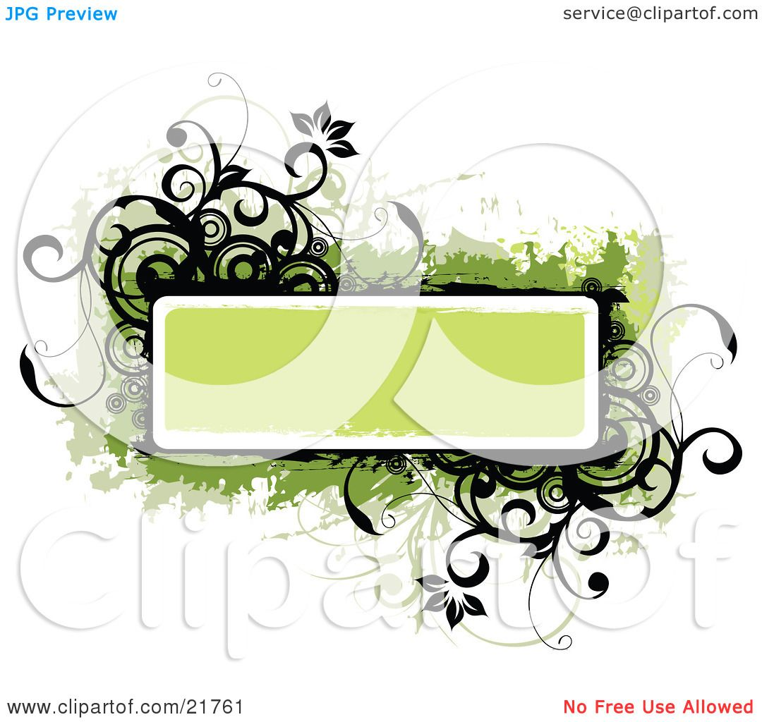 Clipart Picture Illustration of a Green Text Box With Black And.
