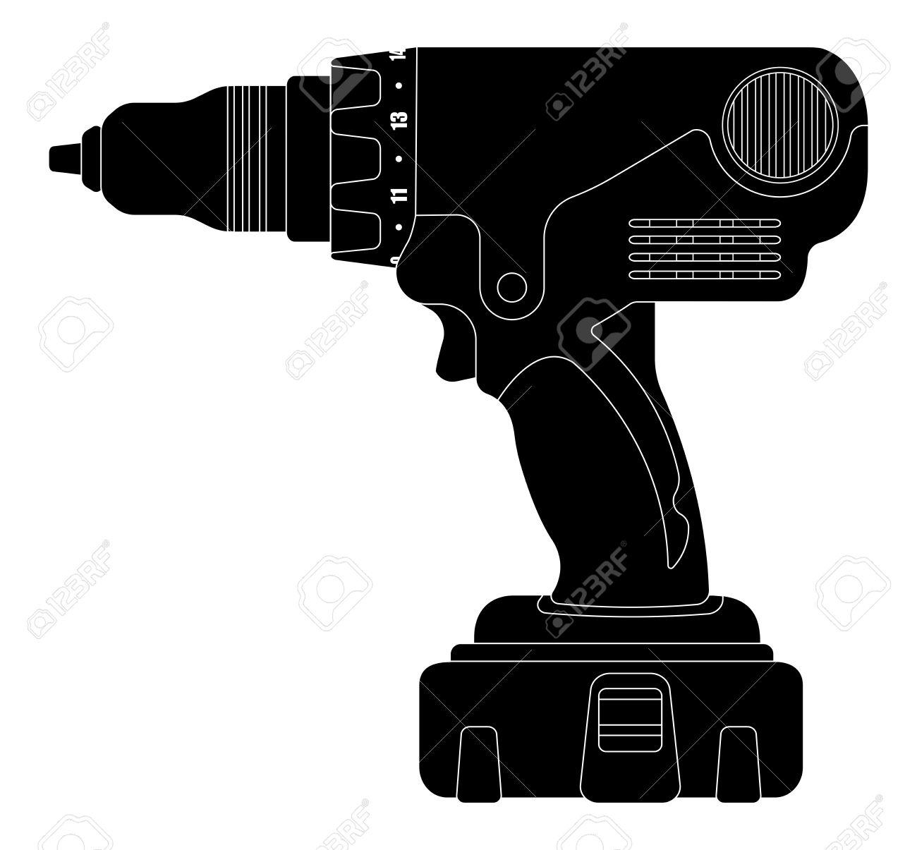 Electric Cordless Hand Drill Icon In Black Color. Clip Art Vector.
