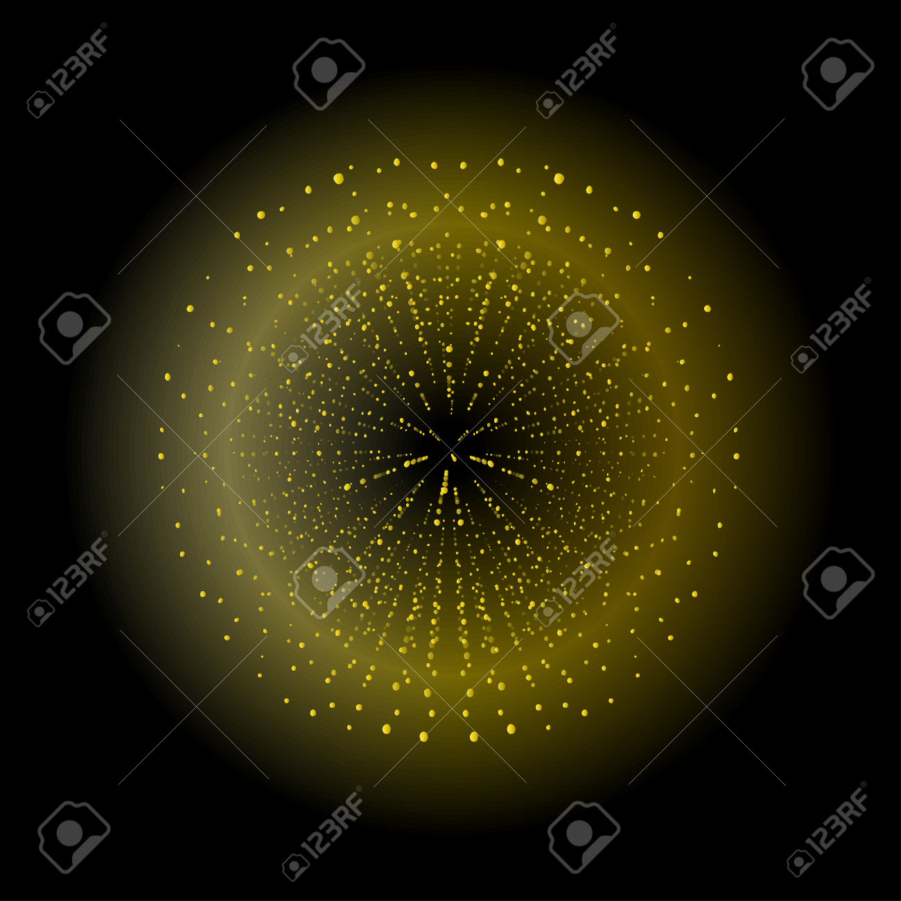 Space Sparks Spray Shiny Explosion. Yellow Color Salute. Vector.