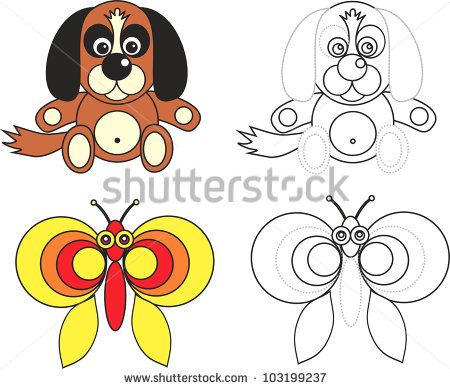Dog And Butterfly, Isolated Color Drawing And Black.