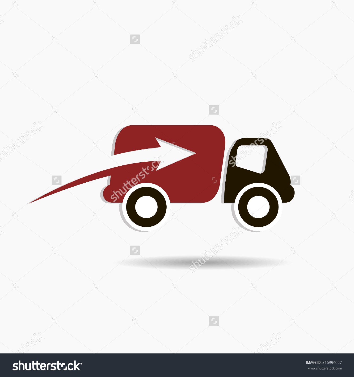 Fast Delivery Truck Logo Red Black Stock Vector 316994027.