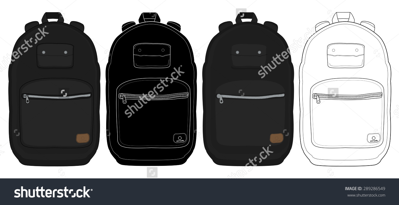 Black Urban Backpack Set. Color, Contour Lines, Silhouette. Raster.
