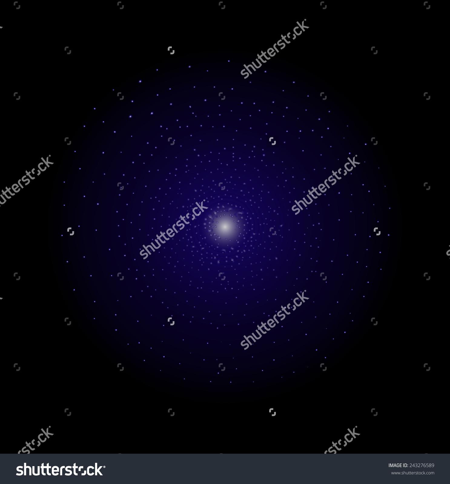 Deep Space Galaxy Star Shining. Dark Violet Color. Vector Clip Art.