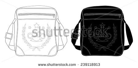 Urban Teenager Shoulder Bag With Print. Clip Art Black And White.