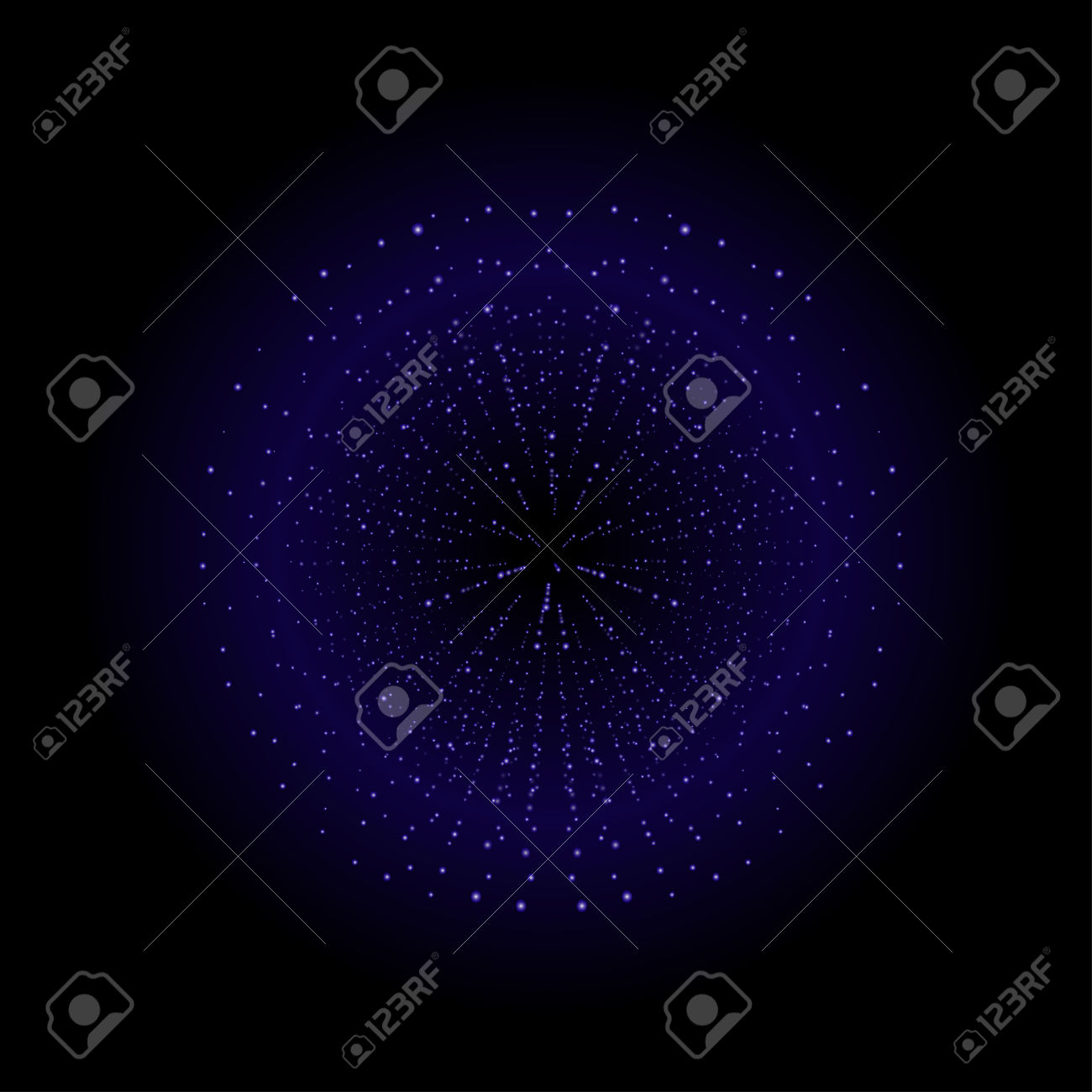 Space Sparks Spray Shiny Explosion. Violet Color Salute. Vector.