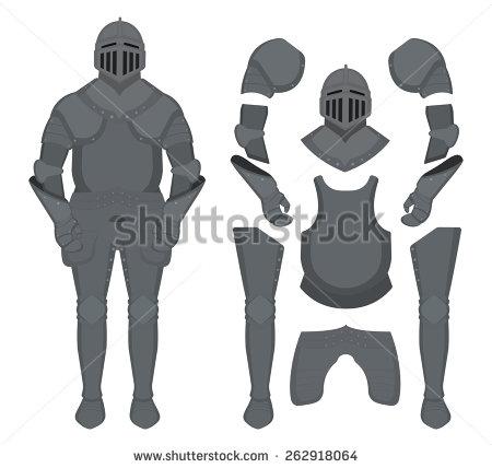 Medieval Knight Armor Set Helmet Shoulders Stock Vector 241609051.
