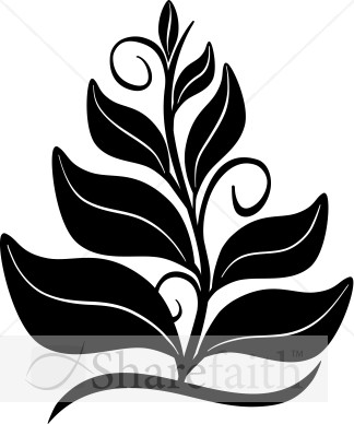 Growing In The Spirit Black and White Clipart.