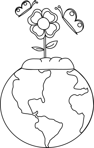 Nature clipart for kids black and white.