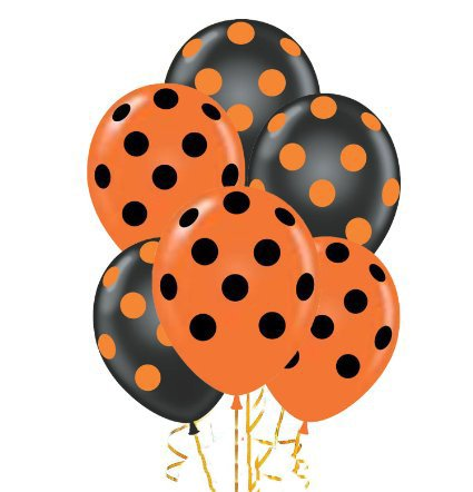 PMU Polka Dot Balloons 11in Premium Black and Orange with All.