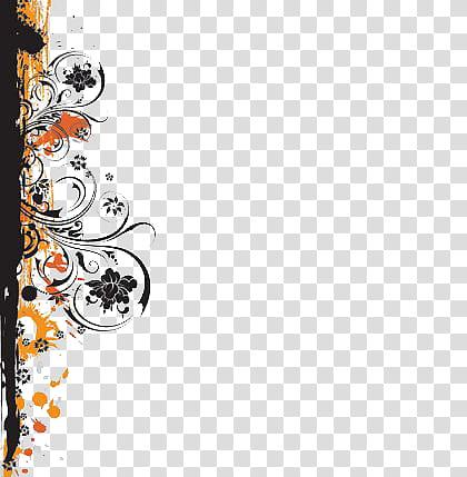 Orange and black floral border art transparent background.