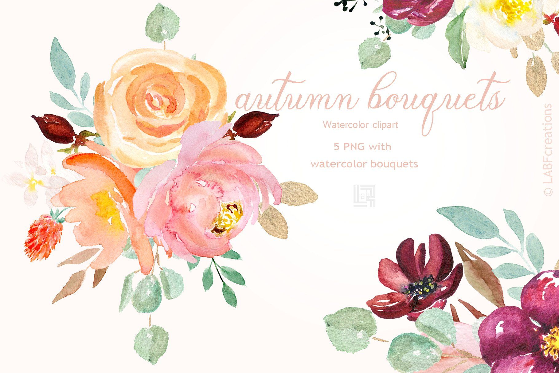 25 OFF Autumn watercolour bouquets #yellow#burgundy#shades.