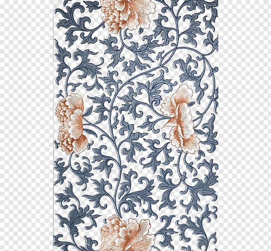 Black and orange floral ornate pattern illustration, China.