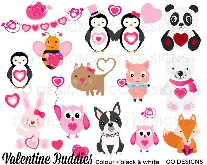 Valentine Clipart, Valentine Animals, Valentine Friends.