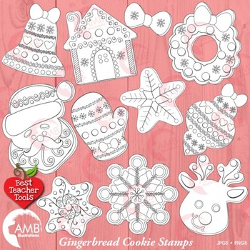 Christmas Digital Stamps, Gingerbread Cookie Black Line Clipart, AMB.