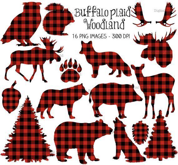 Buffalo plaid woodland clip art set.