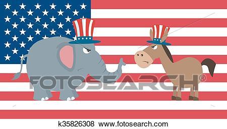 Angry Political Elephant Vs Donkey Clip Art.