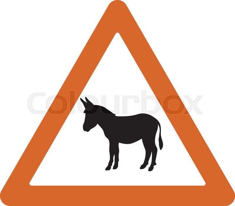 Road sign donkey, vector illustration.