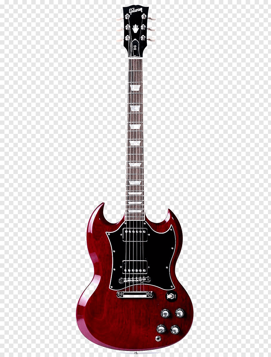 Brown, red, and black Gibson SG electric guitar, Gibson Les.