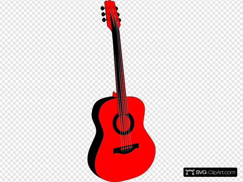 Red And Black Guitar Clip art, Icon and SVG.