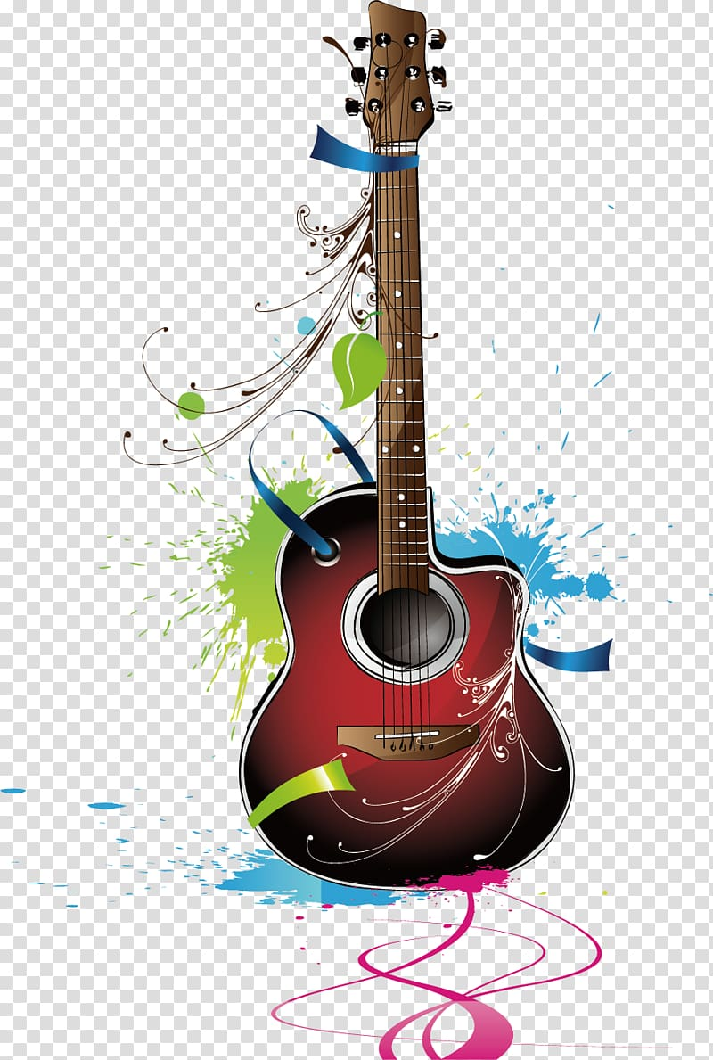 Guitar Musical instrument, Instruments Guitar elements, red.