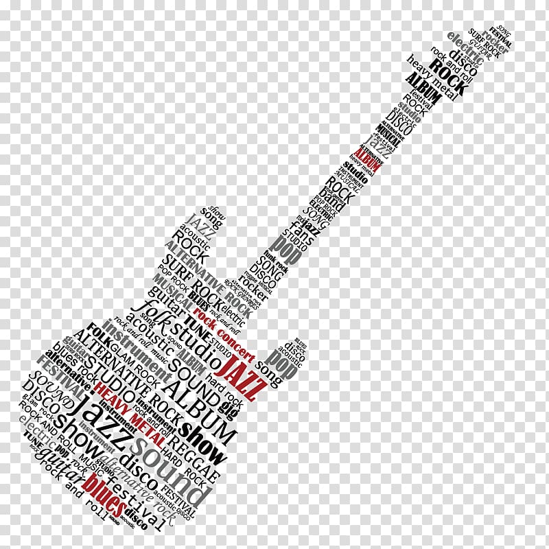 Black and red guitar typography illustration, Electric.
