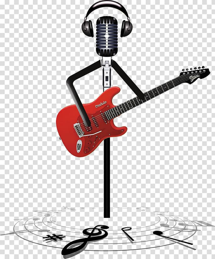 Black and gray condenser microphone with red electric guitar.