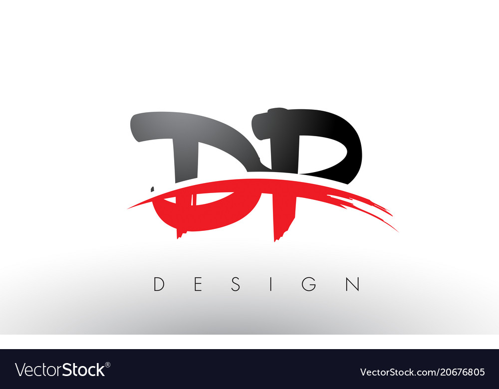 Dp d p brush logo letters with red and black.