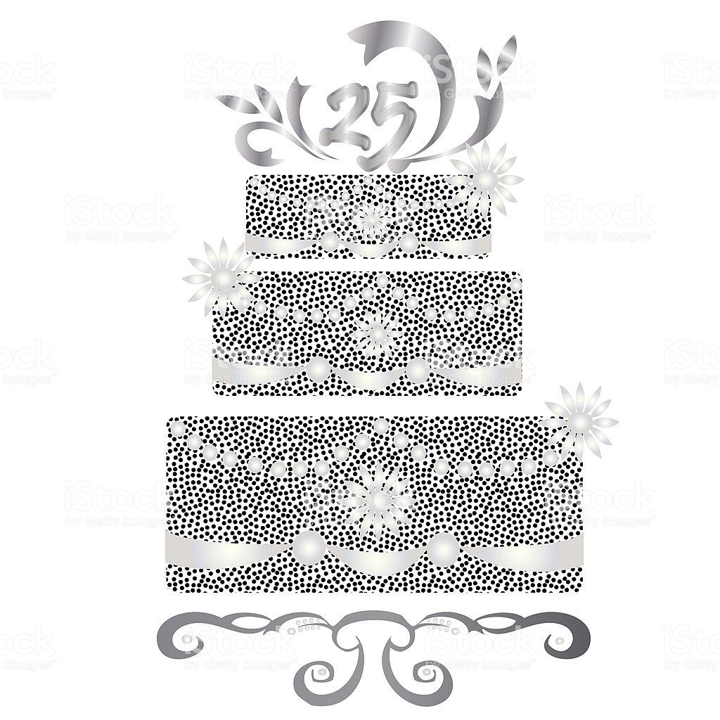 Celebration 25 Years Silver Wedding Cake Stock Illustration.