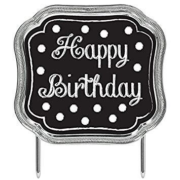 Black & White Happy Birthday Cake Topper: Amazon.in: Toys.