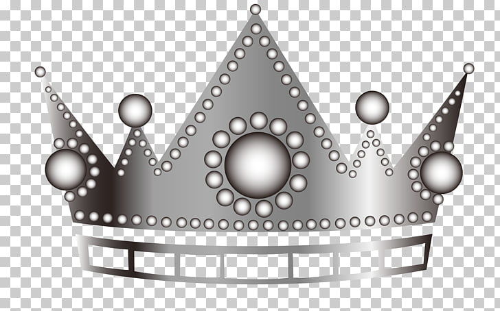 Black and white Pattern, Cartoon silver crown PNG clipart.