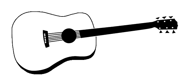 Black And White Acoustic Guitar Clipart.