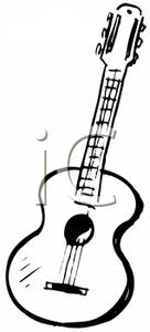 Acoustic Guitar Clipart Black And White.