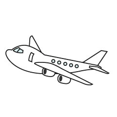 Airplane white and black Clipart Free Picture|Illustoon.