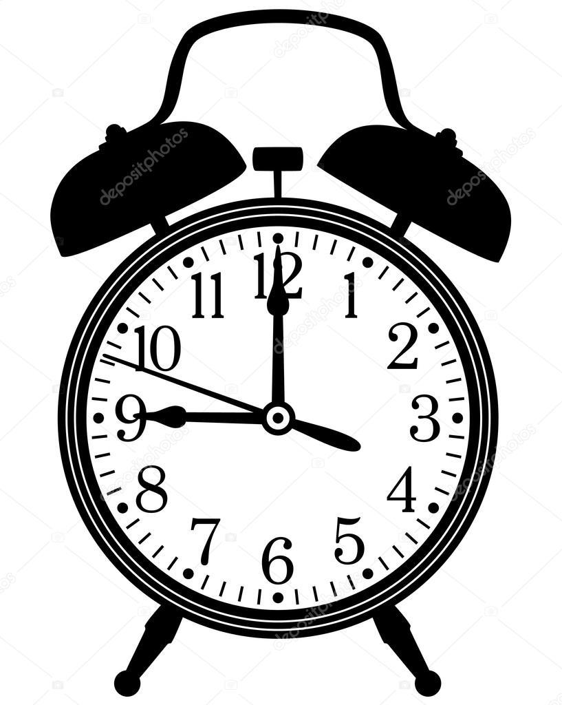 black and white alarm clock clipart #5