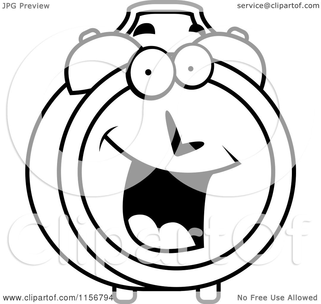 Cartoon Clipart Of A Black And White Happy Smiling Alarm Clock.