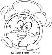 black and white alarm clock clipart #3