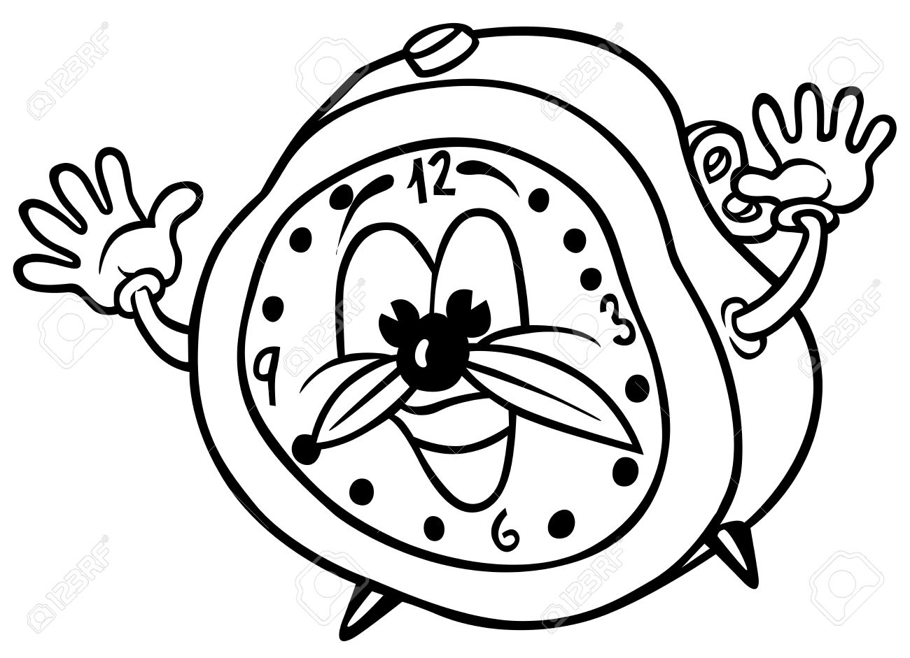 black and white alarm clock clipart #14