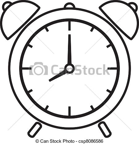 black and white alarm clock clipart #13
