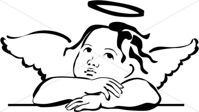 black and white angel clipart