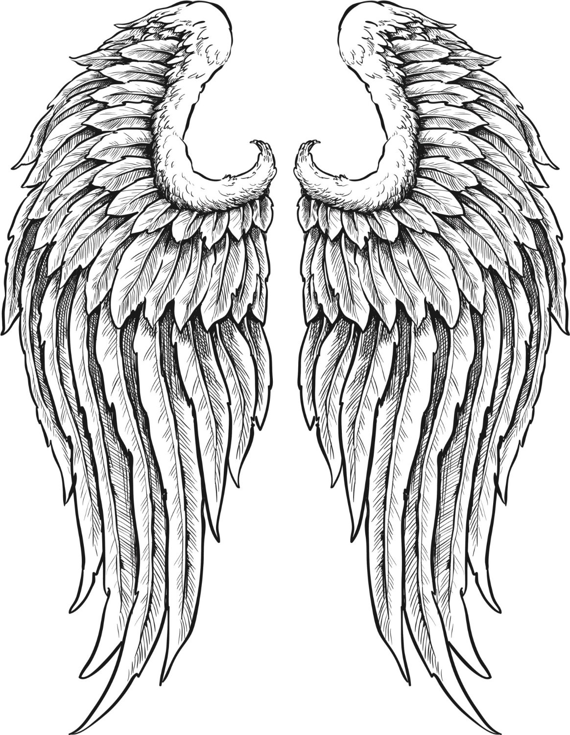 Black And White Angel Wings Clipart.