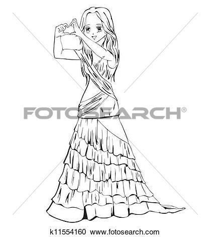 Clipart of Elegant anime girl in evening dress k11554160.