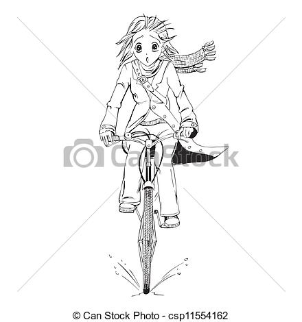 Clip Art Vector of Anime girl bicyclist. Black and white vector.